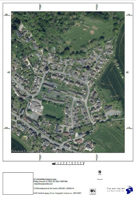Air Photo by Ordnance Survey  Scale 1:2500 - Print by POST